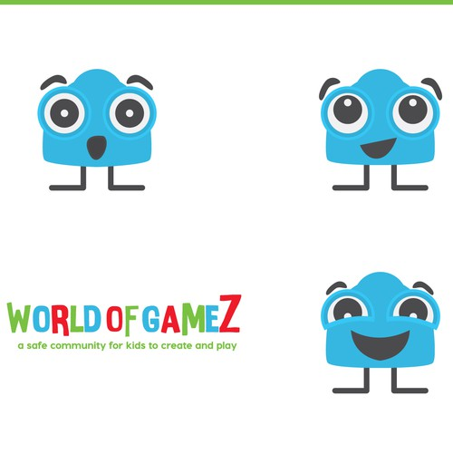 Silly logo with the title 'Vibrant character for kids gaming site.'