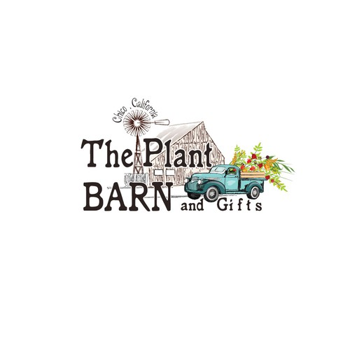 Mill design with the title 'Descriptive logo for a plant barn'