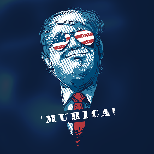 Patriotic t-shirt with the title ''MURICA!'