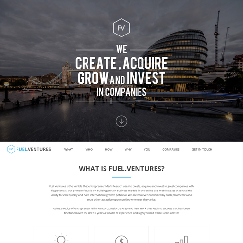 Parallax design with the title 'Fuel.Venture Website'