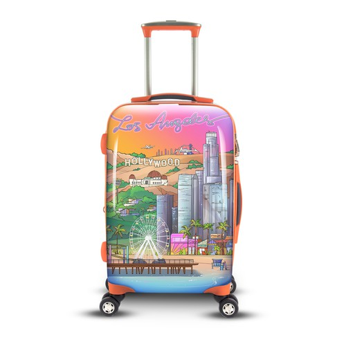 LA design with the title 'Los Angeles Luggage Illustration - BITMAP'