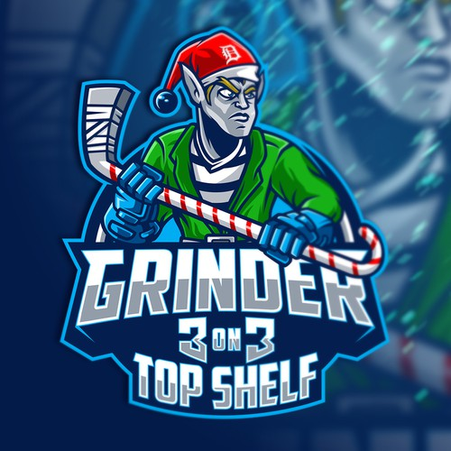 X-mas design with the title 'Grinder 3 on 3 Top Shelf'