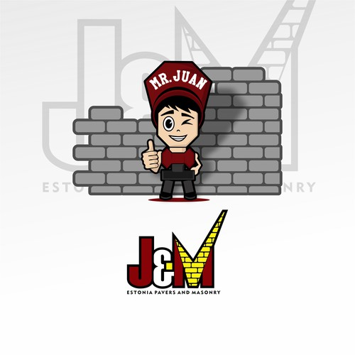 Masonry logo with the title 'Bold logo, Playful concept for J&M Construction'