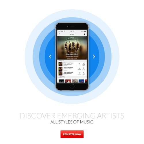 Alternative design with the title 'Landing Page for SongCast'