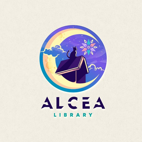 Anime design with the title 'Alcea Library Logo'