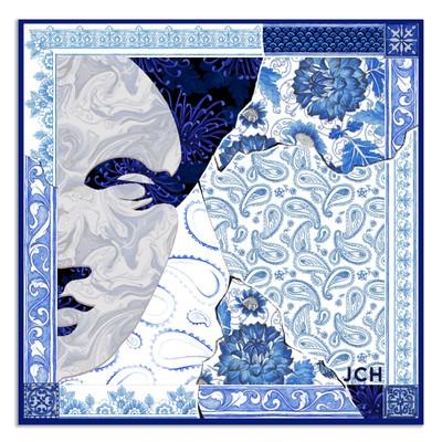 Hand drawn blue scarf with venus