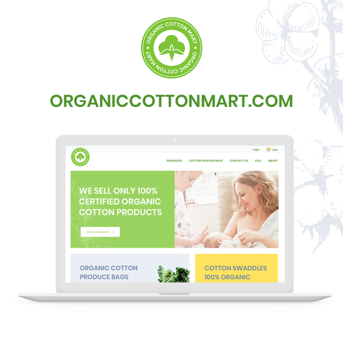 Eshop design with the title 'Organic cotton mart'