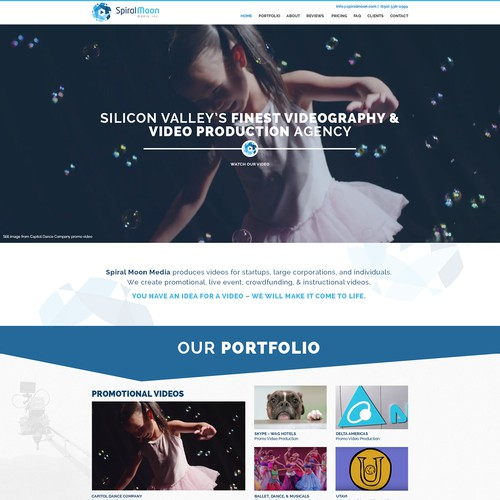 Creative website with the title 'Create an imaginative, elegant, BOLD website for Spiral Moon Media'