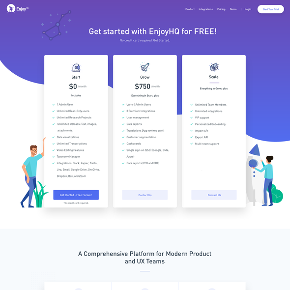 Pricing page design with the title 'EnjoyHQ - Pricing Page'