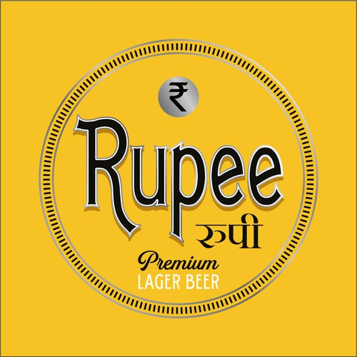 Authentic logo with the title 'logo concept for rupee lager beer'