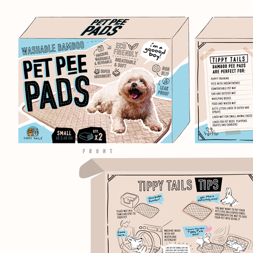 Packaging with the title 'Illustrated packaging for pet pads'