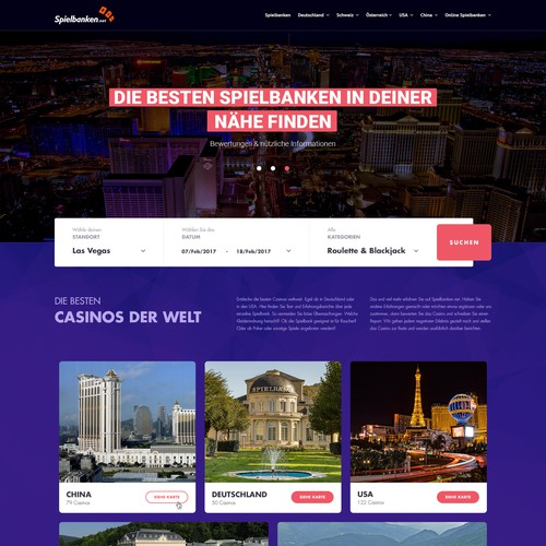 Travel agency website with the title 'Concept design for Spielbanken.net'