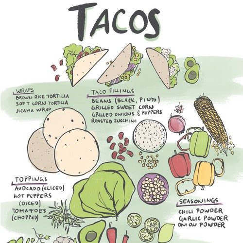 Vegetable design with the title 'Tacos illustration'