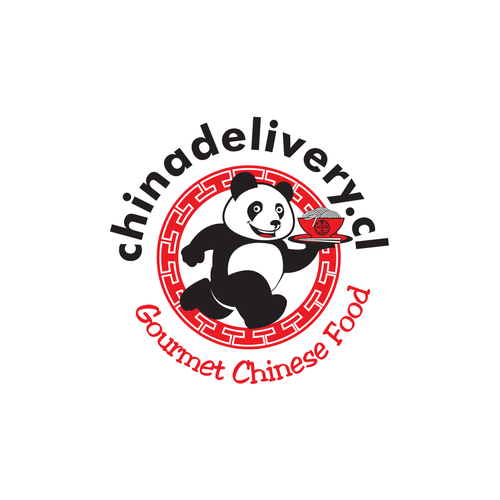 Quick design with the title 'Panda run with ramen delivery for Gourment Chinese food Company'