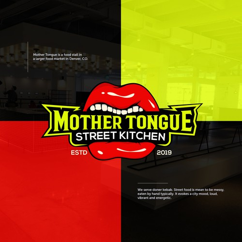 Tongue logo with the title 'Funky Logo Mother Tongue'