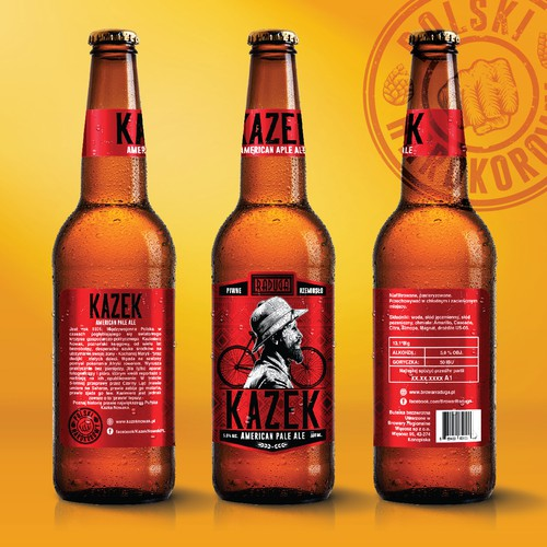 Beer label with the title 'KAZEK'