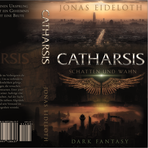 Dark fantasy book cover with the title 'cover for a dark fantasy novel'