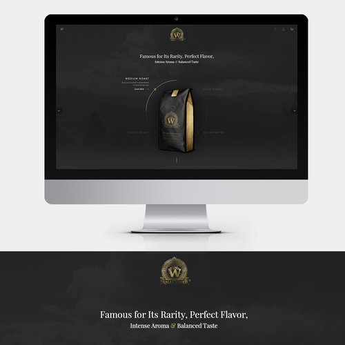 Ecommerce design with the title 'Landing page design for a coffee company'