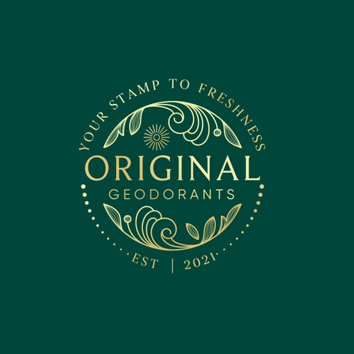 Abstract wave logo with the title 'Original Deodorants'