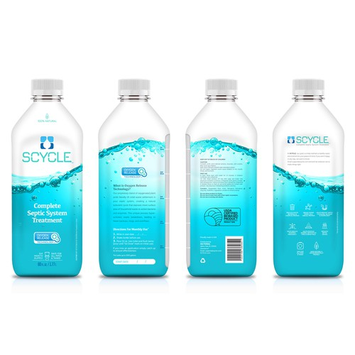 Chemistry design with the title 'Liquid Septic Treatment Label Design'