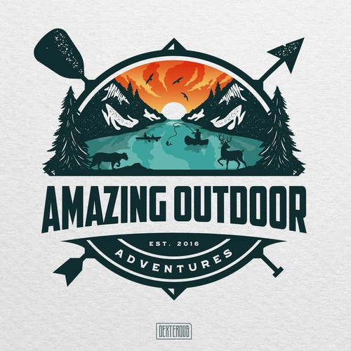 Duck hunting logo with the title 'Amazing Outdoor Adventures'