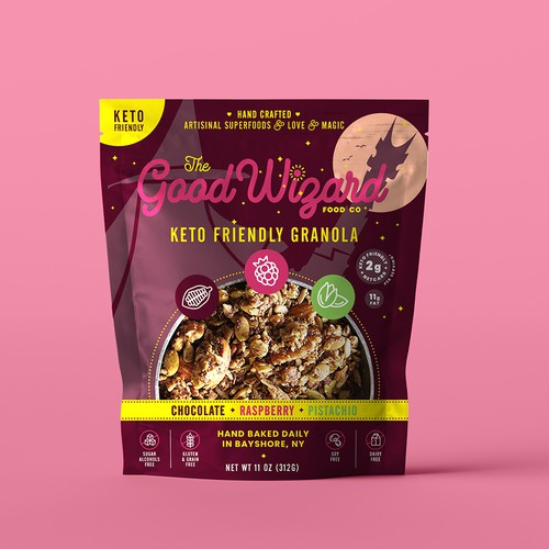 Love packaging with the title 'The Good Wizard Granola. Logo and packaging design.'