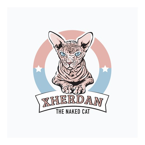 Illustrative design with the title 'The Naked Cat Logo'