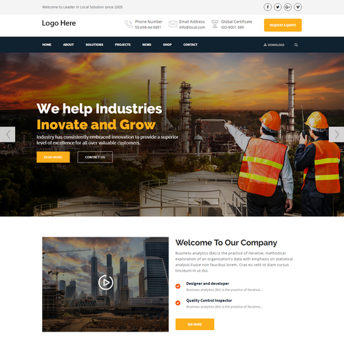 Building website with the title 'Construction building website '