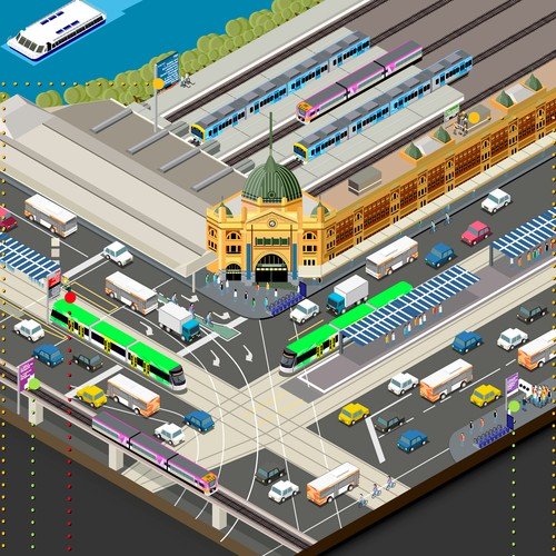 Step design with the title 'Infographic for Public Transport in Victoria Australia'