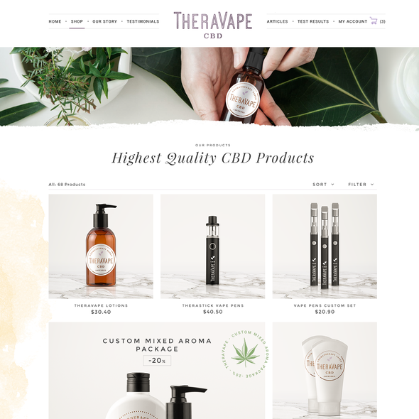 Product design website with the title 'TheraVape'
