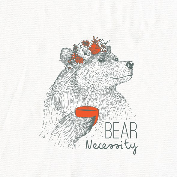 Bear artwork with the title 'Boho Bear illustration for In 2 The Nest'