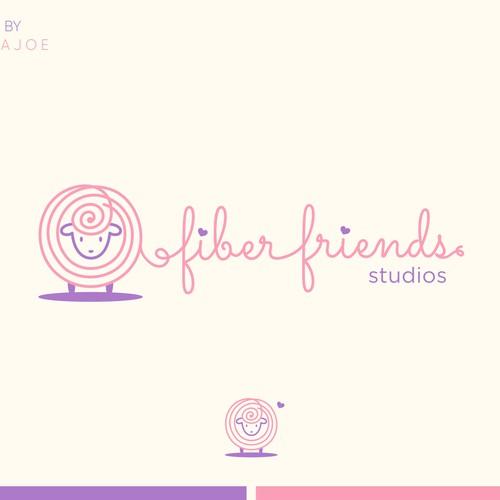 Love brand with the title 'Fiber Friends Studios Logo Designs'