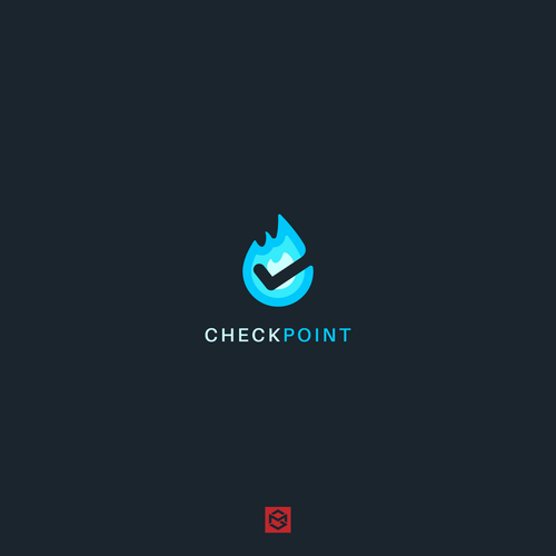 Flaming logo with the title 'Flame check icon'