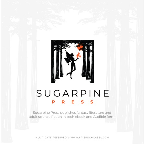 Fantasy logo with the title 'Logo that inspires mystery, curiosity and imagination for Sugarpine Press'