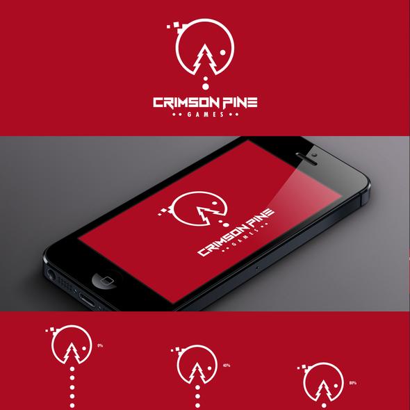 Crimson logo with the title 'Create logo for game developer Crimson Pine'