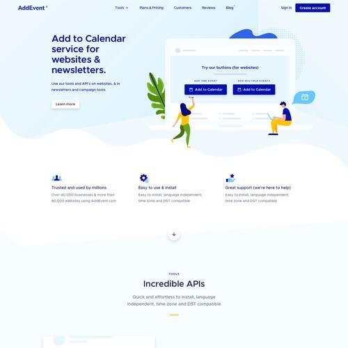 Corporate website with the title 'Web design - Calendar Software Website'