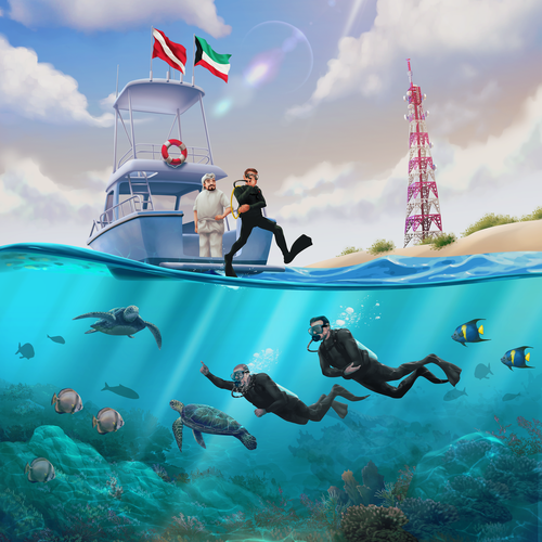 Marine design with the title 'Scuba Diving in Kuwait'