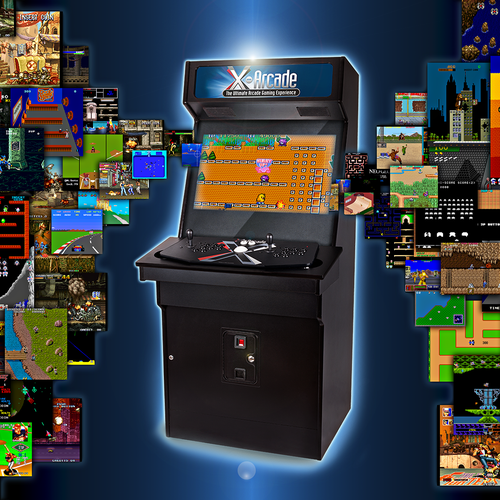 Machine illustration with the title 'Retro Arcade Game Machine'
