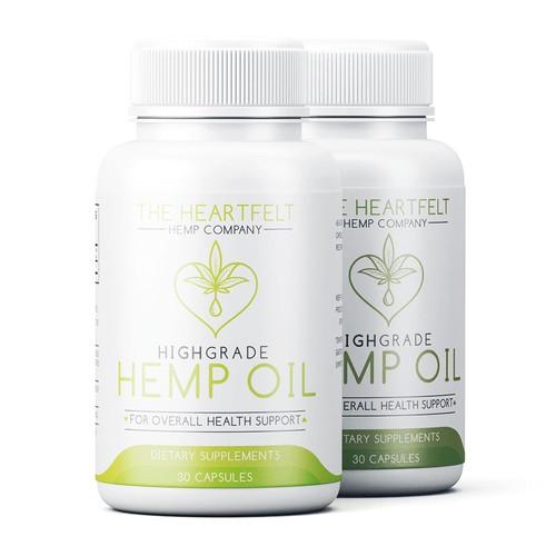 Hemp oil label with the title 'Cbd label design for Heartfelt'