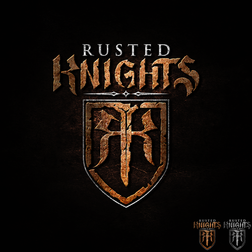 Medieval logo with the title 'Rusted Knights'