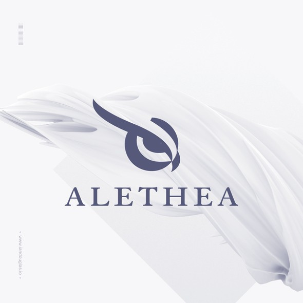 Symbolic brand with the title 'Eye of Minerva for Alethea medical data analysis'