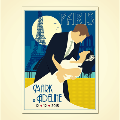 Design a vintage style poster as anniversary gift