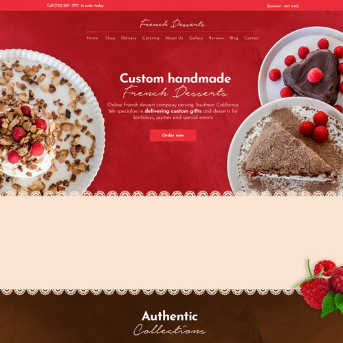 Cake design with the title 'A textured version for Frenchdessert.com web design'