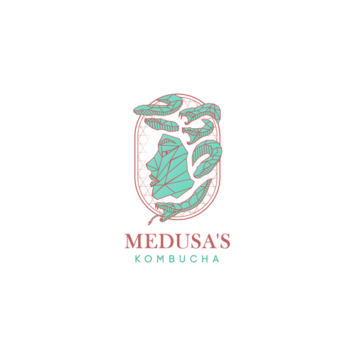 Medusa design with the title 'Low poly logo design for kombucha brand'