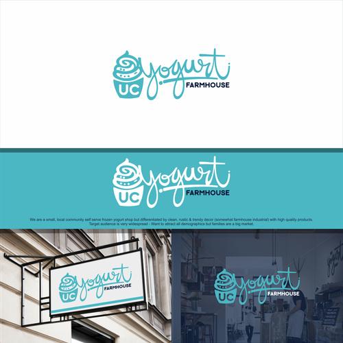 Farmhouse logo with the title 'UC Yogurt needs a creative, rustic modern professional logo!'