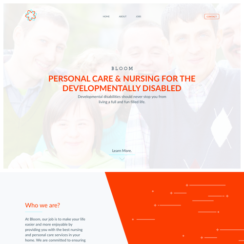 White and orange design with the title 'Nursing and personal care website'