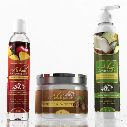 Colorful label with the title 'Label design for Adiva Naturals'