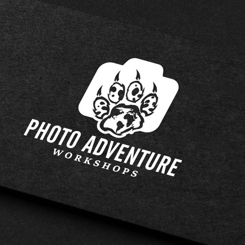 World map design with the title 'Photo Adventure Workshops'