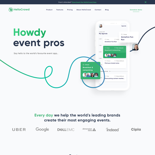 Bold website with the title 'Modern design for an event planning app'
