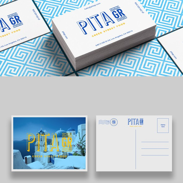 Blue brand with the title 'brand concept for new greek restaurant '